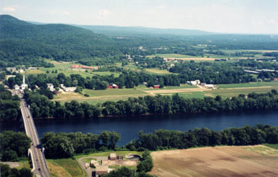 View of farmland in Sunderland and So. Deerfield, MA